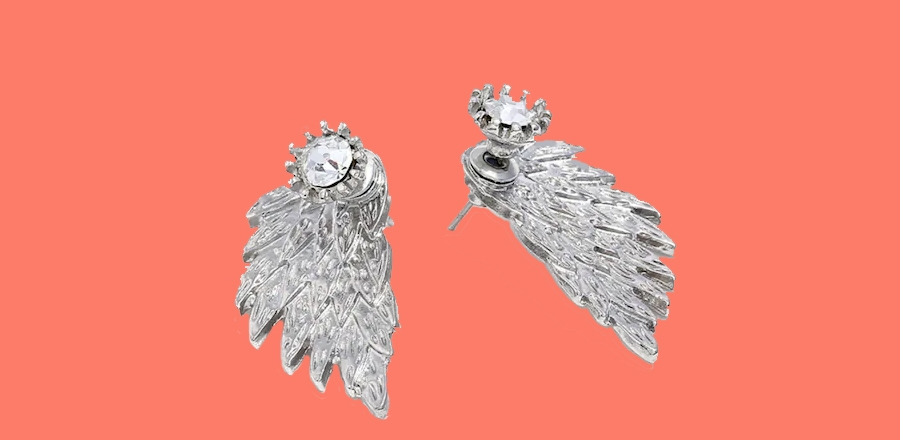 WINGED EARRINGS SILV